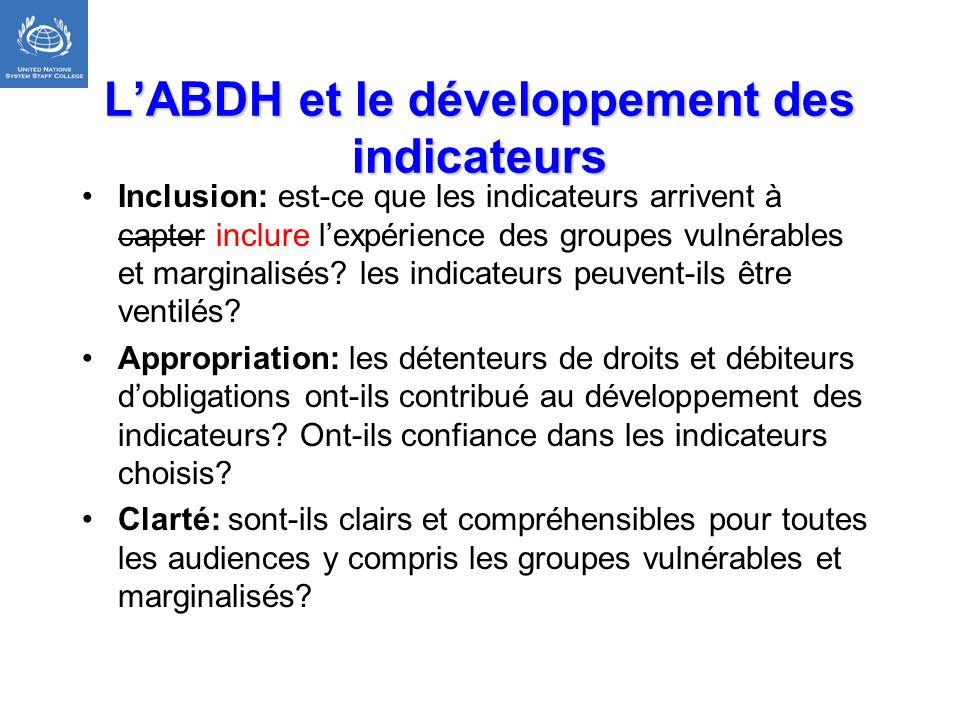 LABDH et le développement des indicateurs Inclusion: est-ce que les indicateurs arrivent à capter inclure lexpérience des groupes vulnérables et margi
