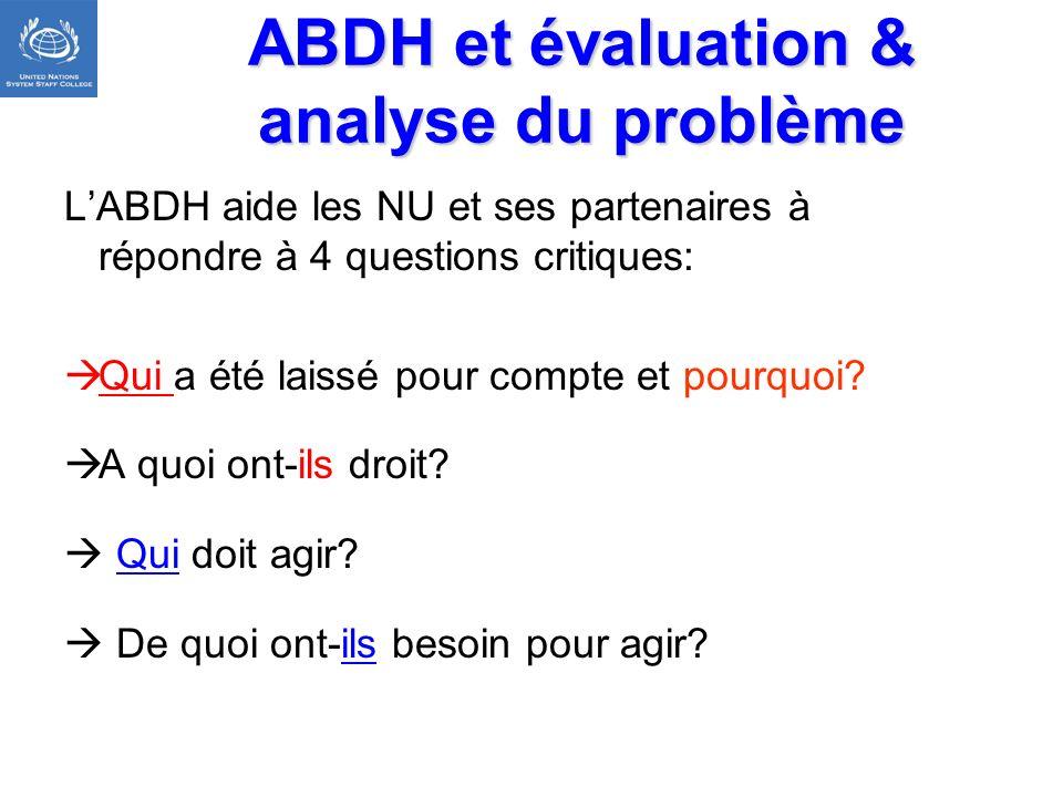 ABDH et évaluation & analyse du problème LABDH aide les NU et ses partenaires à répondre à 4 questions critiques: Qui a été laissé pour compte et pour