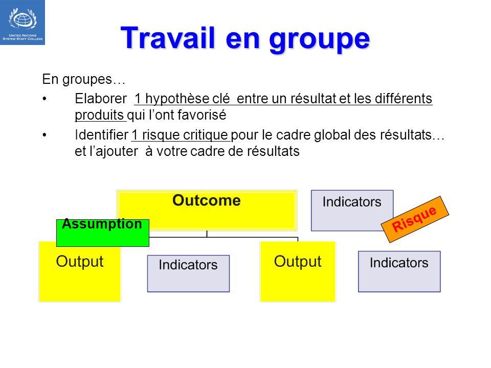 Travail en groupe En groupes… Elaborer 1 hypothèse clé entre un résultat et les différents produits qui lont favorisé Identifier 1 risque critique pou