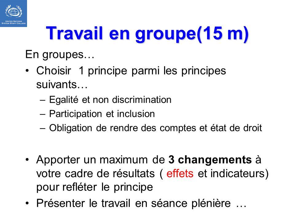 Travail en groupe(15 m) En groupes… Choisir 1 principe parmi les principes suivants… –Egalité et non discrimination –Participation et inclusion –Oblig