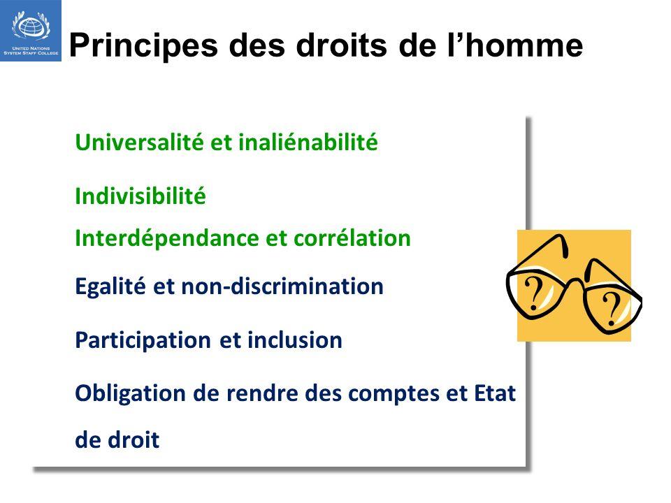 Universalité et inaliénabilité Indivisibilité Interdépendance et corrélation Egalité et non-discrimination Participation et inclusion Obligation de re