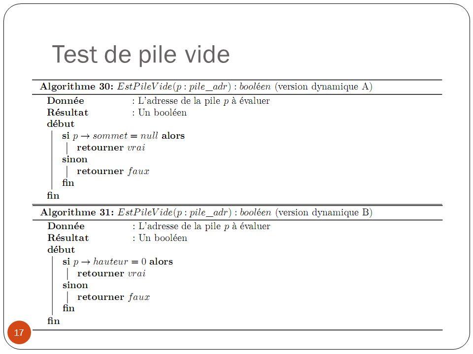 Test de pile vide 17