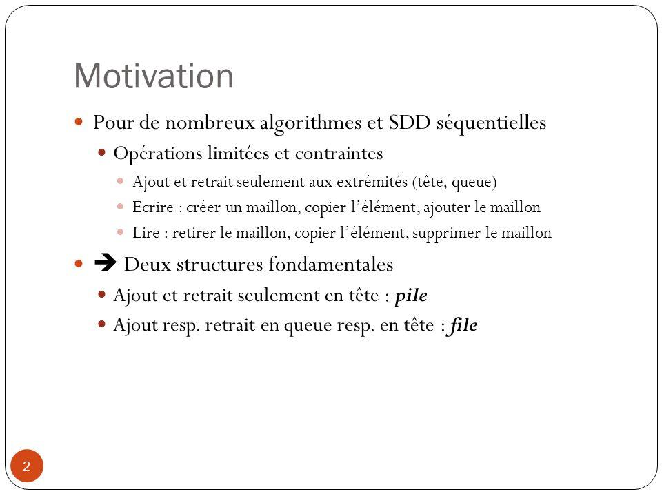 Motivation 2 Pour de nombreux algorithmes et SDD séquentielles Opérations limitées et contraintes Ajout et retrait seulement aux extrémités (tête, que