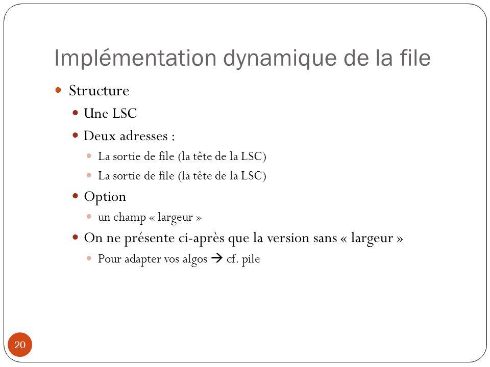 Implémentation dynamique de la file 20 Structure Une LSC Deux adresses : La sortie de file (la tête de la LSC) Option un champ « largeur » On ne prése