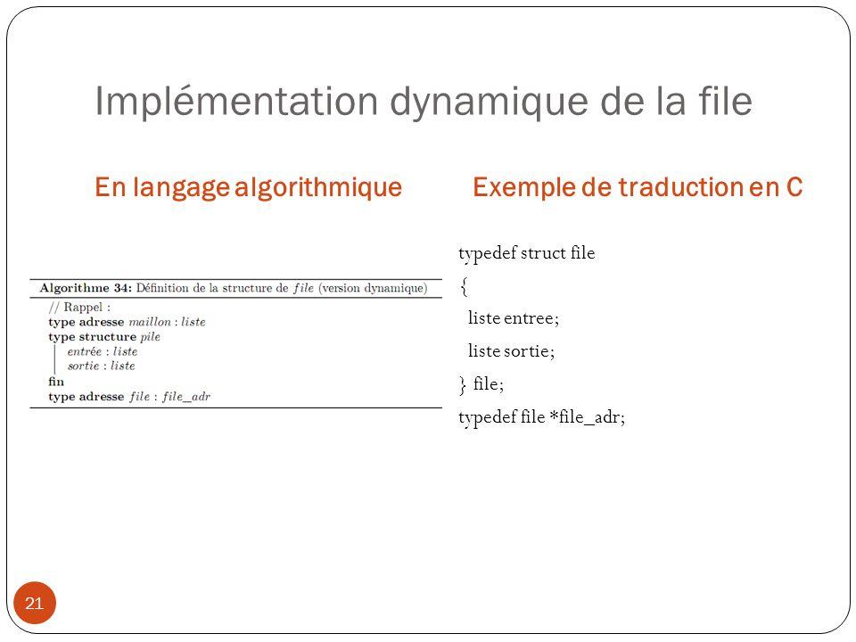 Implémentation dynamique de la file En langage algorithmiqueExemple de traduction en C 21 typedef struct file { liste entree; liste sortie; } file; ty