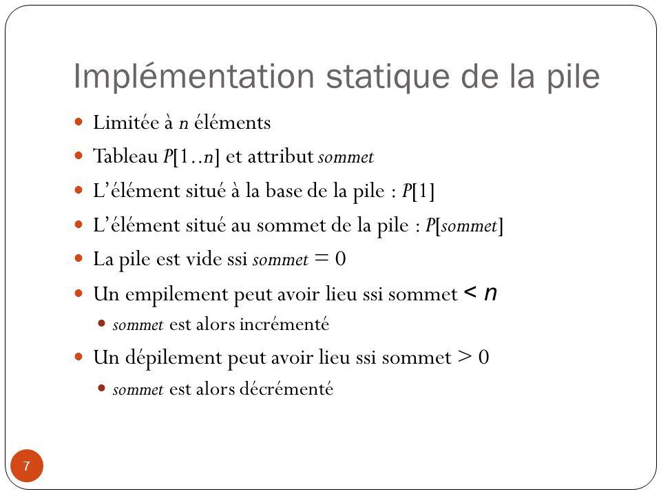 Implémentation statique de la pile 7 Limitée à n éléments Tableau P[1..n] et attribut sommet Lélément situé à la base de la pile : P[1] Lélément situé