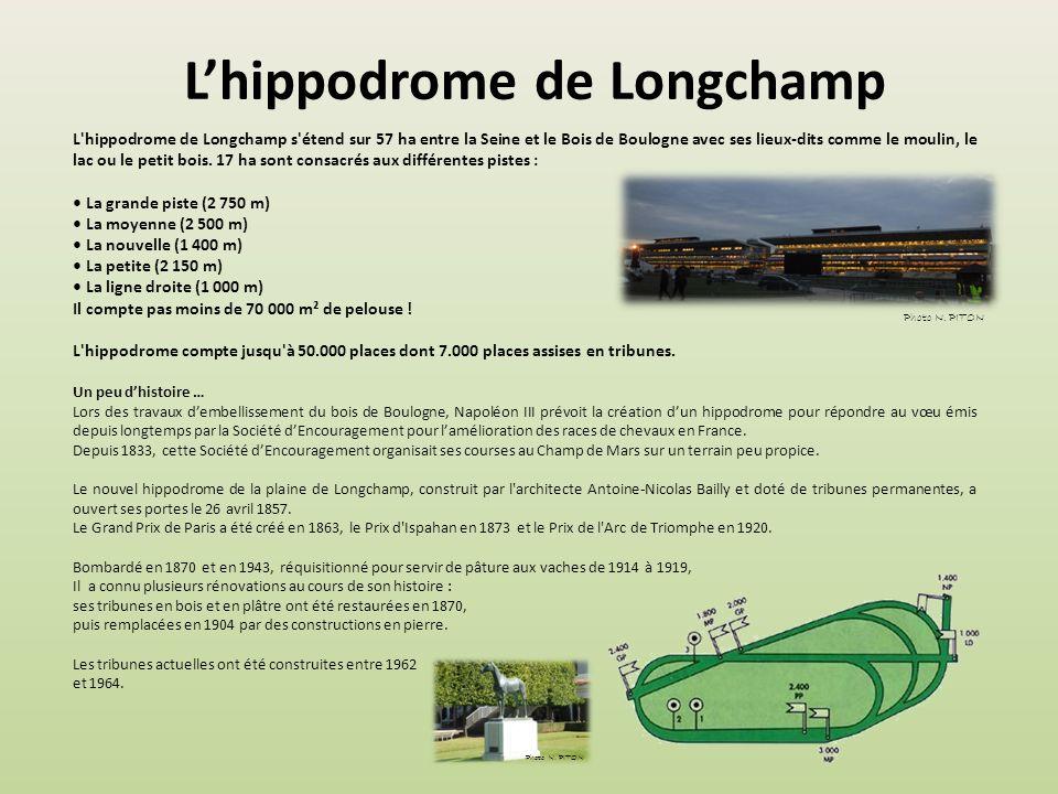 Lhippodrome de Longchamp L hippodrome de Longchamp s étend sur 57 ha entre la Seine et le Bois de Boulogne avec ses lieux-dits comme le moulin, le lac ou le petit bois.