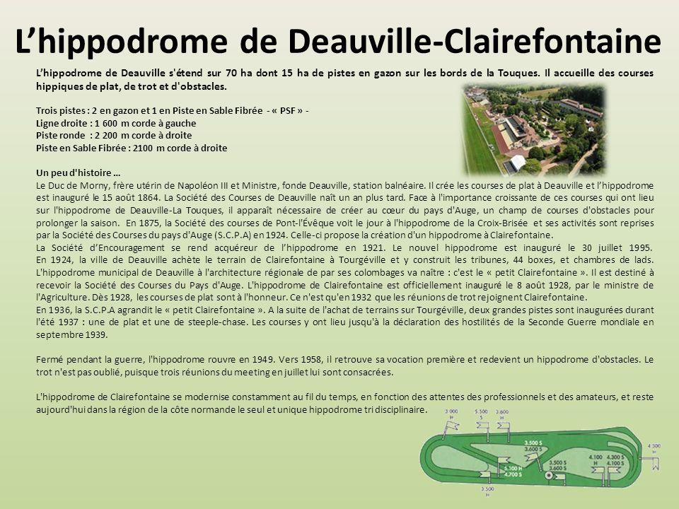 Lhippodrome de Deauville-Clairefontaine Lhippodrome de Deauville s étend sur 70 ha dont 15 ha de pistes en gazon sur les bords de la Touques.
