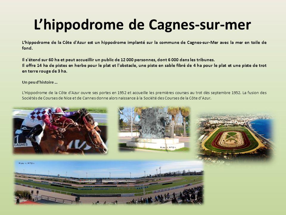 Lhippodrome de Cagnes-sur-mer Lhippodrome de la Côte d Azur est un hippodrome implanté sur la commune de Cagnes-sur-Mer avec la mer en toile de fond.