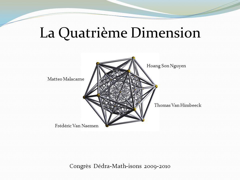 Congrès Dédra-Math-isons 2009-2010 La Quatrième Dimension Matteo Malacarne Thomas Van Himbeeck Frédéric Van Naemen Hoang Son Nguyen