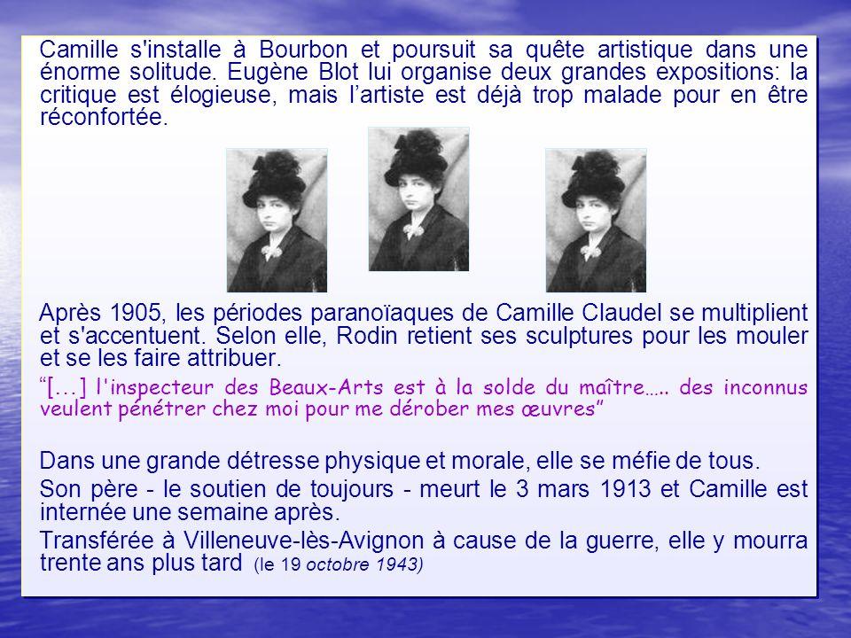 Camille s'installe à Bourbon et poursuit sa quête artistique dans une énorme solitude. Eugène Blot lui organise deux grandes expositions: la critique