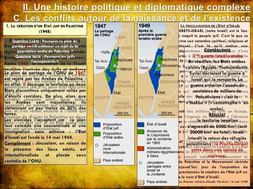 R APPEL DE LA SITUATION GÉOPOLITIQUE Depuis 1920, la Palestine est une région administrée par la Grande- Bretagne (mandat : traité de Sèvres). Après 1