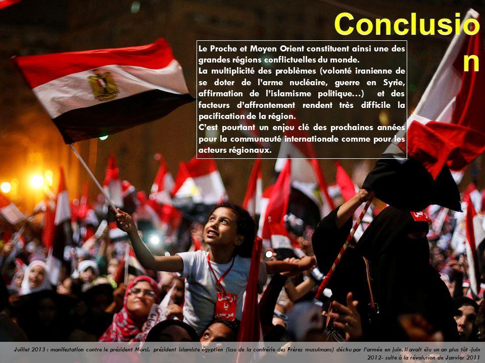 Le Proche et Moyen Orient constituent ainsi une des grandes régions conflictuelles du monde. La multiplicité des problèmes (volonté iranienne de se do