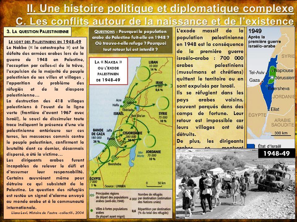 Lexode massif de la population palestinienne en 1948 est la conséquence de la première guerre israélo-arabe : 700 000 arabes palestiniens (musulmans e
