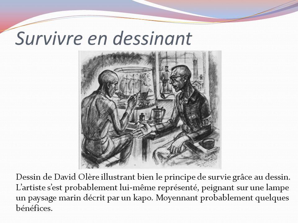 Survivre en dessinant Dessin de David Olère illustrant bien le principe de survie grâce au dessin.