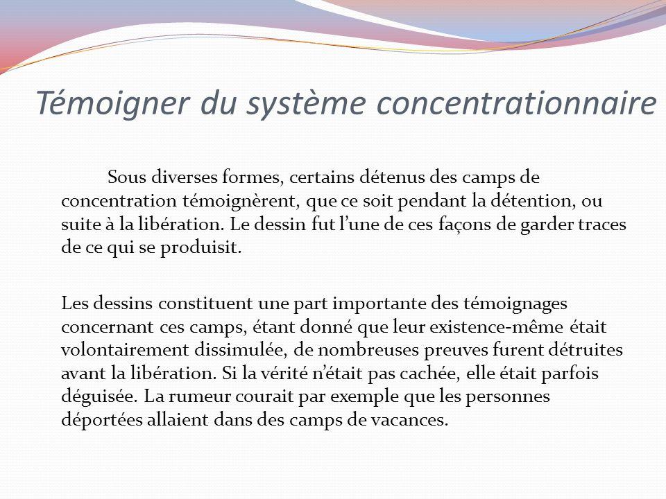 Témoigner du système concentrationnaire Sous diverses formes, certains détenus des camps de concentration témoignèrent, que ce soit pendant la détention, ou suite à la libération.
