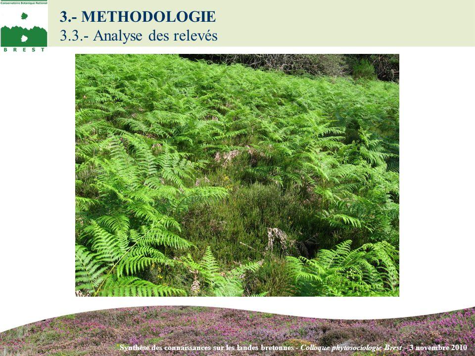 Synthèse des connaissances sur les landes bretonnes - Colloque phytosociologie Brest – 3 novembre 2010 3.- METHODOLOGIE 3.3.- Analyse des relevés