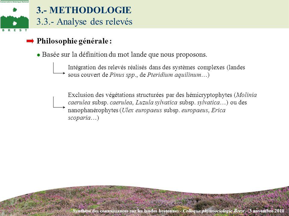 Synthèse des connaissances sur les landes bretonnes - Colloque phytosociologie Brest – 3 novembre 2010 Philosophie générale : Basée sur la définition