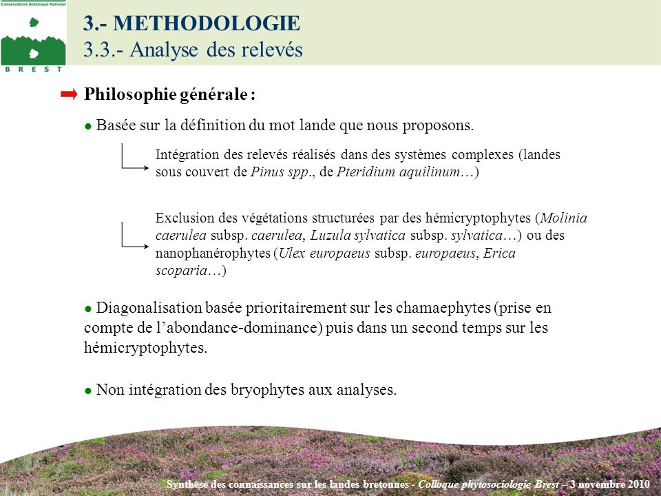 Synthèse des connaissances sur les landes bretonnes - Colloque phytosociologie Brest – 3 novembre 2010 Philosophie générale : Basée sur la définition du mot lande que nous proposons.