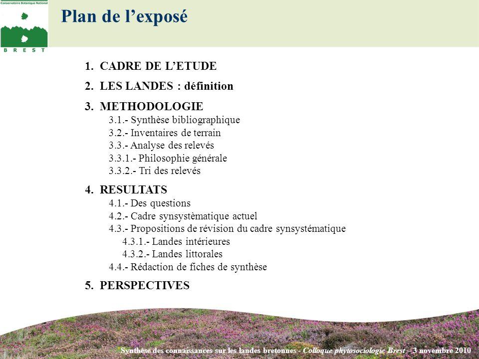 Plan de lexposé 1. CADRE DE LETUDE 2. LES LANDES : définition 3. METHODOLOGIE 3.1.- Synthèse bibliographique 3.2.- Inventaires de terrain 3.3.- Analys