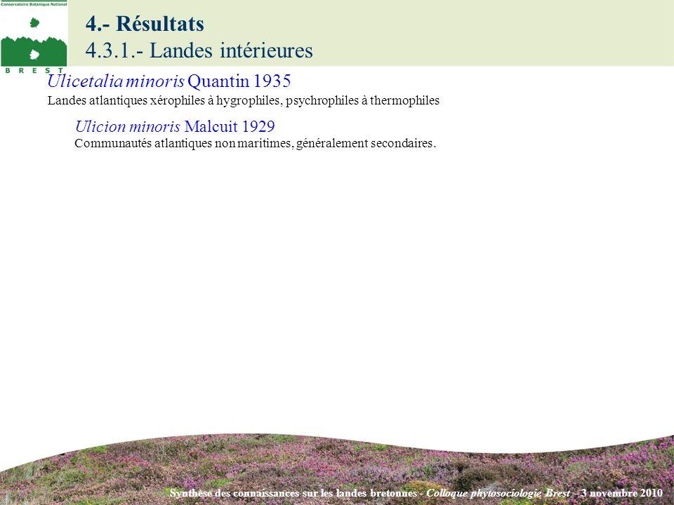 4.- Résultats 4.3.1.- Landes intérieures Synthèse des connaissances sur les landes bretonnes - Colloque phytosociologie Brest – 3 novembre 2010 Ulicion minoris Malcuit 1929 Communautés atlantiques non maritimes, généralement secondaires.