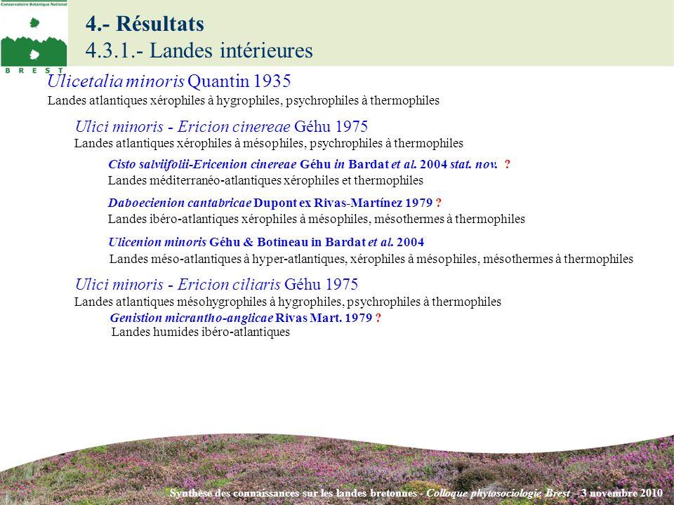 4.- Résultats 4.3.1.- Landes intérieures Synthèse des connaissances sur les landes bretonnes - Colloque phytosociologie Brest – 3 novembre 2010 Ulici minoris - Ericion cinereae Géhu 1975 Landes atlantiques xérophiles à mésophiles, psychrophiles à thermophiles Ulici minoris - Ericion ciliaris Géhu 1975 Landes atlantiques mésohygrophiles à hygrophiles, psychrophiles à thermophiles Cisto salviifolii-Ericenion cinereae Géhu in Bardat et al.
