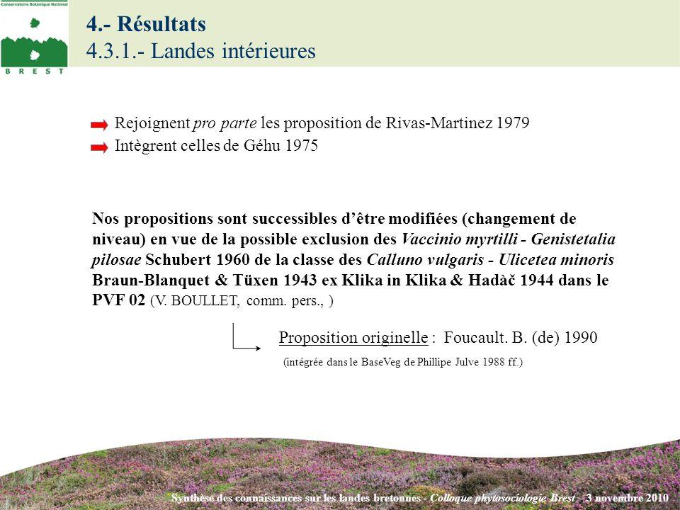 4.- Résultats 4.3.1.- Landes intérieures Synthèse des connaissances sur les landes bretonnes - Colloque phytosociologie Brest – 3 novembre 2010 Rejoig