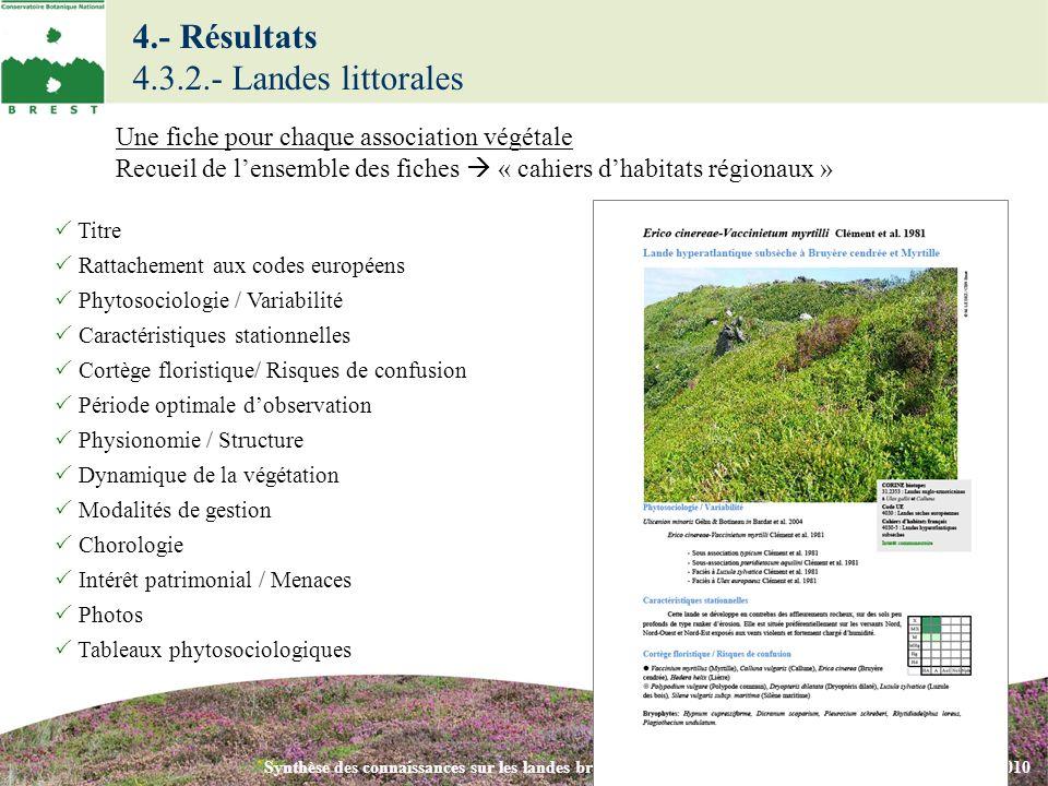 Synthèse des connaissances sur les landes bretonnes - Colloque phytosociologie Brest – 3 novembre 2010 Titre Rattachement aux codes européens Phytosoc