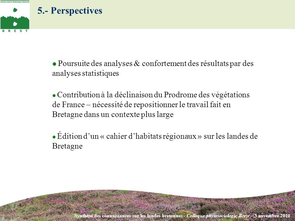 5.- Perspectives Synthèse des connaissances sur les landes bretonnes - Colloque phytosociologie Brest – 3 novembre 2010 Poursuite des analyses & confo