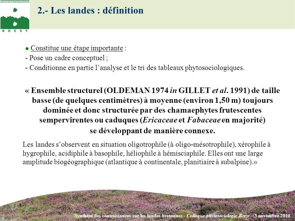 2.- Les landes : définition Synthèse des connaissances sur les landes bretonnes - Colloque phytosociologie Brest – 3 novembre 2010 Constitue une étape