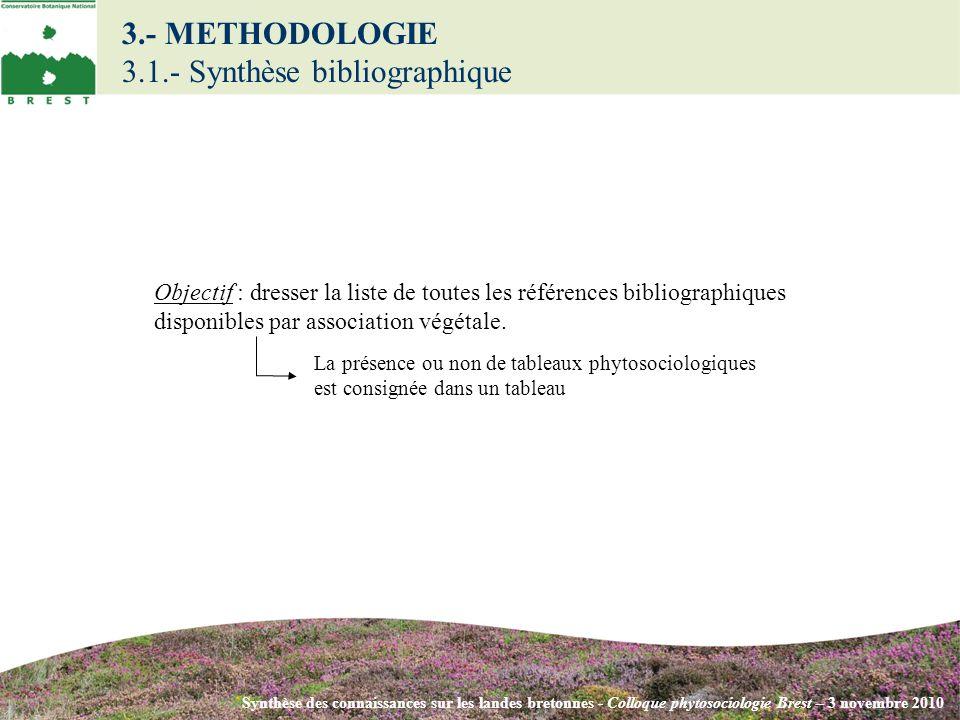 3.- METHODOLOGIE 3.1.- Synthèse bibliographique Synthèse des connaissances sur les landes bretonnes - Colloque phytosociologie Brest – 3 novembre 2010