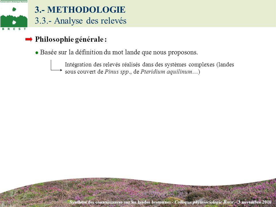 3.- METHODOLOGIE 3.3.- Analyse des relevés Synthèse des connaissances sur les landes bretonnes - Colloque phytosociologie Brest – 3 novembre 2010 Phil