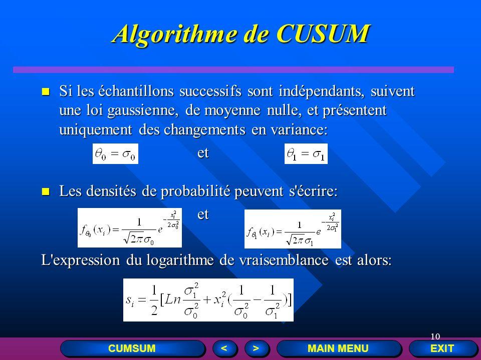 10 EXIT MAIN MENU > > < < Si les échantillons successifs sont indépendants, suivent une loi gaussienne, de moyenne nulle, et présentent uniquement des