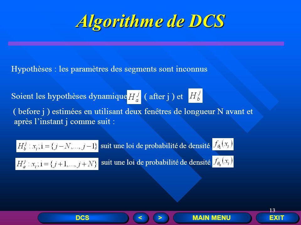 13 Algorithme de DCS EXIT MAIN MENU > > < < DCS Hypothèses : les paramètres des segments sont inconnus Soient les hypothèses dynamiques ( after j ) et