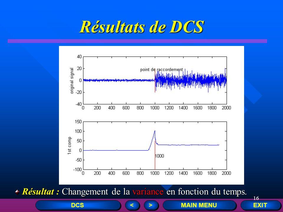 16 Résultats de DCS EXIT MAIN MENU > > < < DCS Résultat : Changement de la variance en fonction du temps. Résultat : Changement de la variance en fonc
