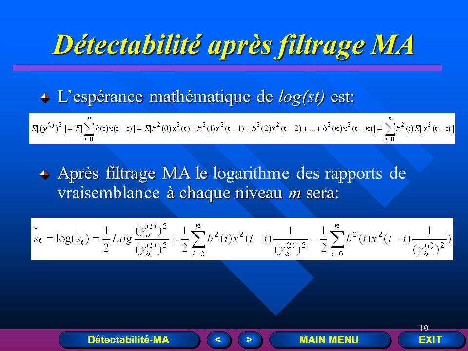 19 EXIT MAIN MENU > > < < Détectabilité après filtrage MA Lespérance mathématique de log(st) est: Après filtrage MA le à chaque niveau m sera: Après f