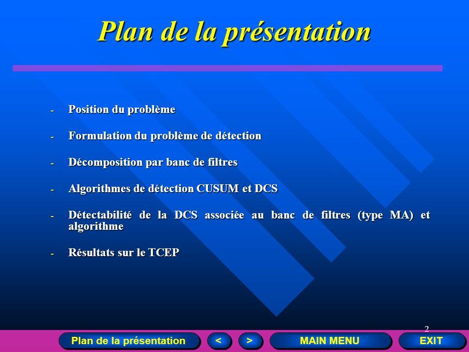 2 Plan de la présentation - Position du problème - Formulation du problème de détection - Décomposition par banc de filtres - Algorithmes de détection