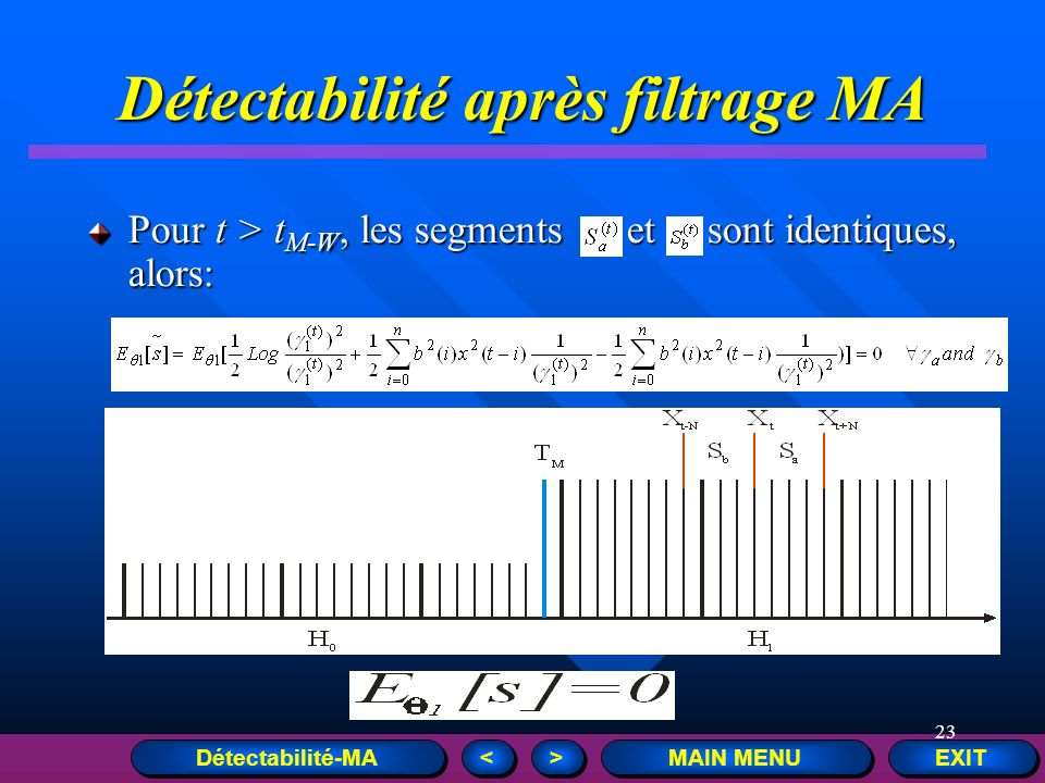 23 EXIT MAIN MENU > > < < Détectabilité après filtrage MA Pour t > t M-W, les segments et sont identiques, alors: Détectabilité-MA