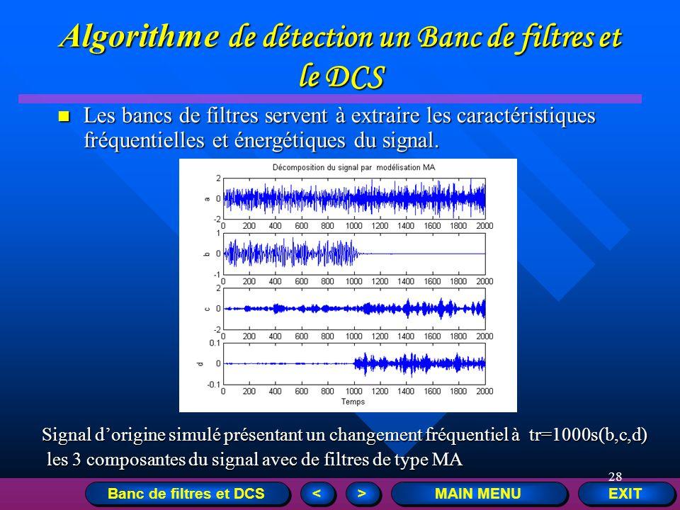28 EXIT MAIN MENU > > < < Algorithme de détection un Banc de filtres et le DCS Les bancs de filtres servent à extraire les caractéristiques fréquentie