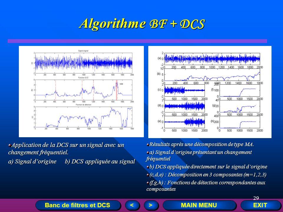 29 EXIT MAIN MENU > > < < Application de la DCS sur un signal avec un changement fréquentiel. a) Signal dorigineb) DCS appliquée au signal Résultats a