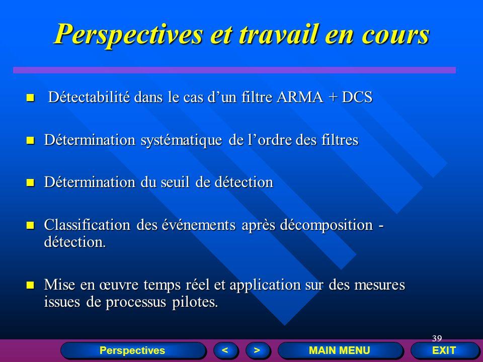 39 Perspectives et travail en cours Détectabilité dans le cas dun filtre ARMA + DCS Détectabilité dans le cas dun filtre ARMA + DCS Détermination syst