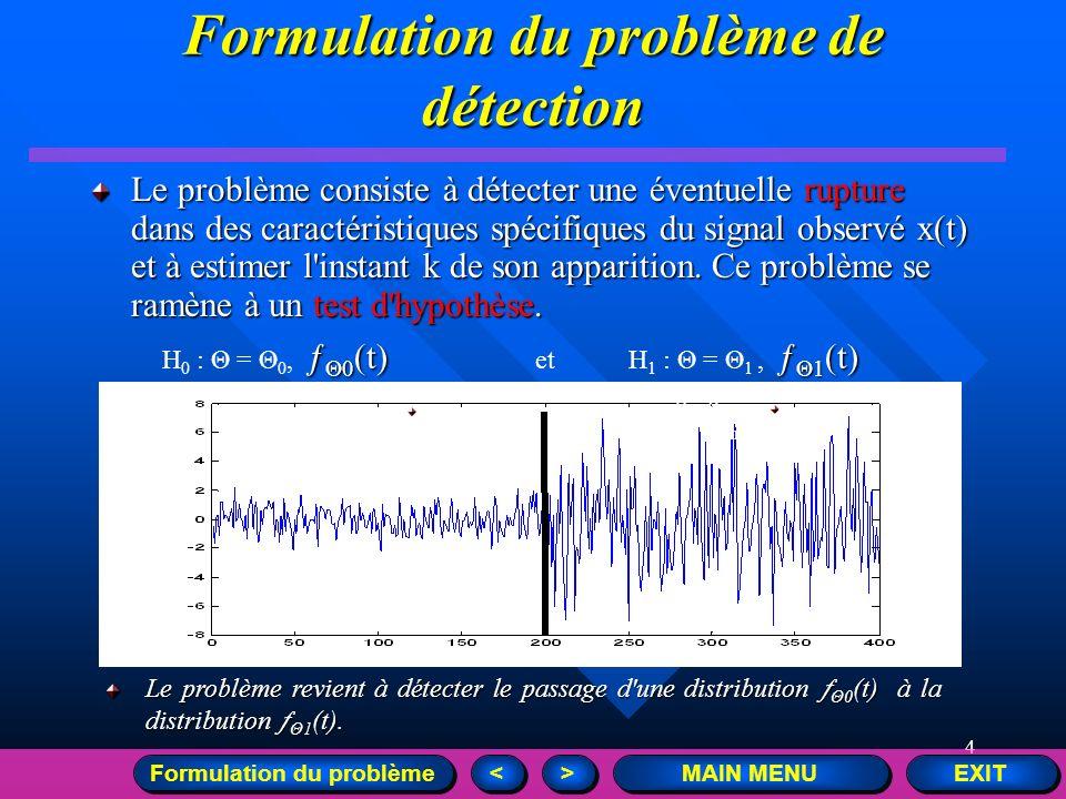 4 EXIT MAIN MENU > > < < Formulation du problème de détection Le problème consiste à détecter une éventuelle rupture dans des caractéristiques spécifi