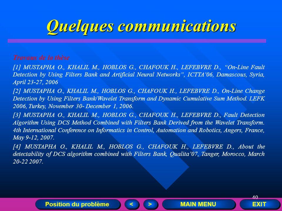 40 Quelques communications EXIT MAIN MENU > > < < Position du problème Travaux de la thèse [1] MUSTAPHA O., KHALIL M., HOBLOS G., CHAFOUK H., LEFEBVRE