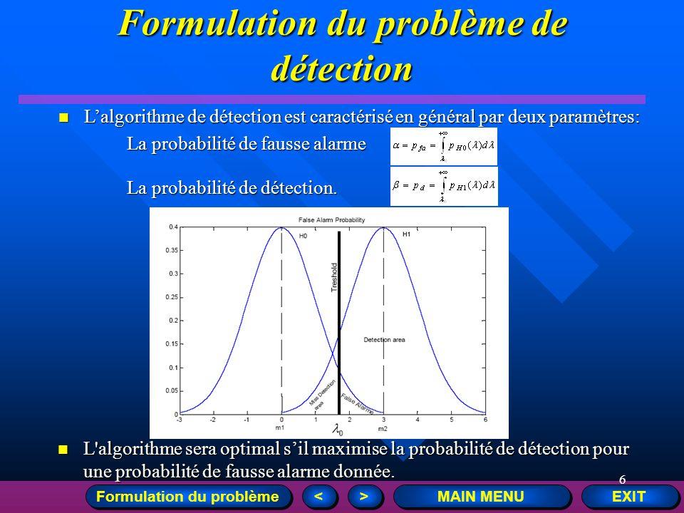 6 EXIT MAIN MENU > > < < Lalgorithme de détection est caractérisé en général par deux paramètres: Lalgorithme de détection est caractérisé en général