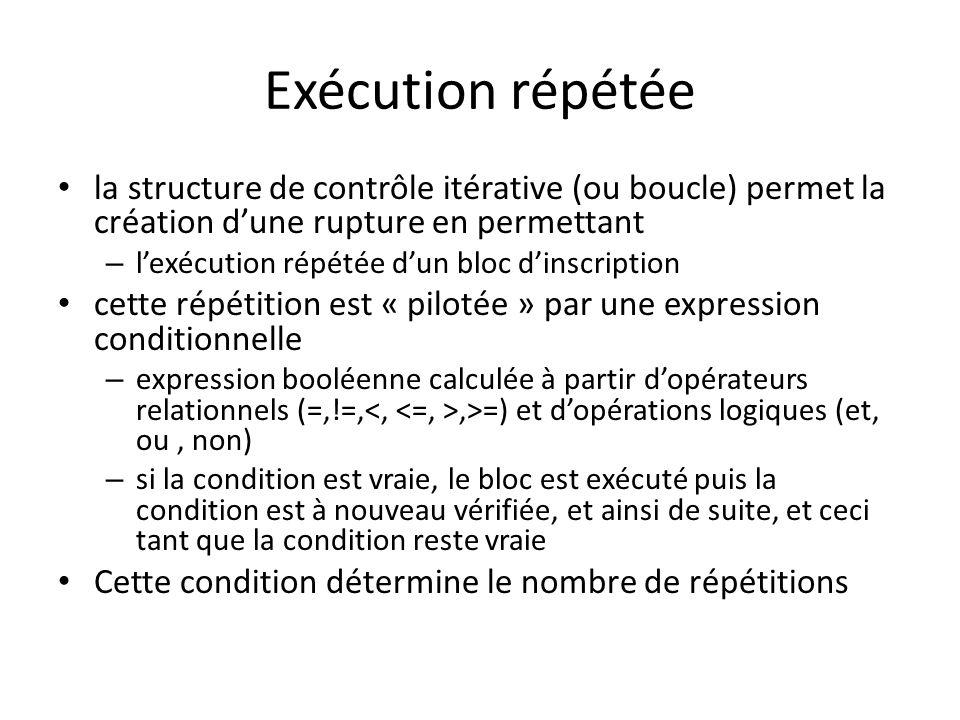 Exécution répétée la structure de contrôle itérative (ou boucle) permet la création dune rupture en permettant – lexécution répétée dun bloc dinscript