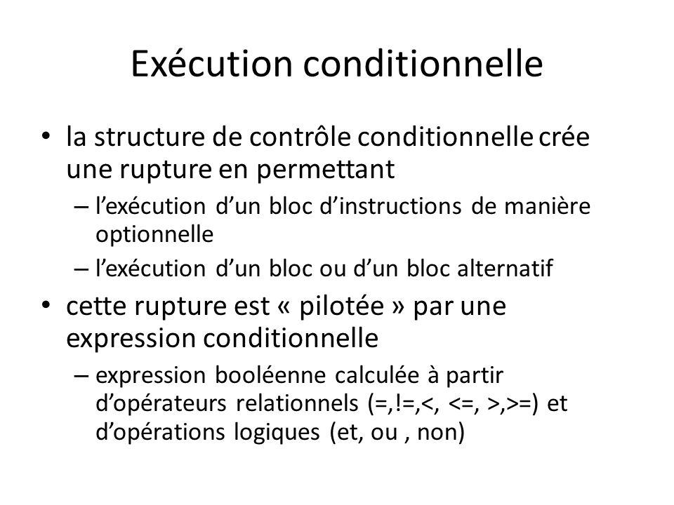 Exécution conditionnelle la structure de contrôle conditionnelle crée une rupture en permettant – lexécution dun bloc dinstructions de manière optionn