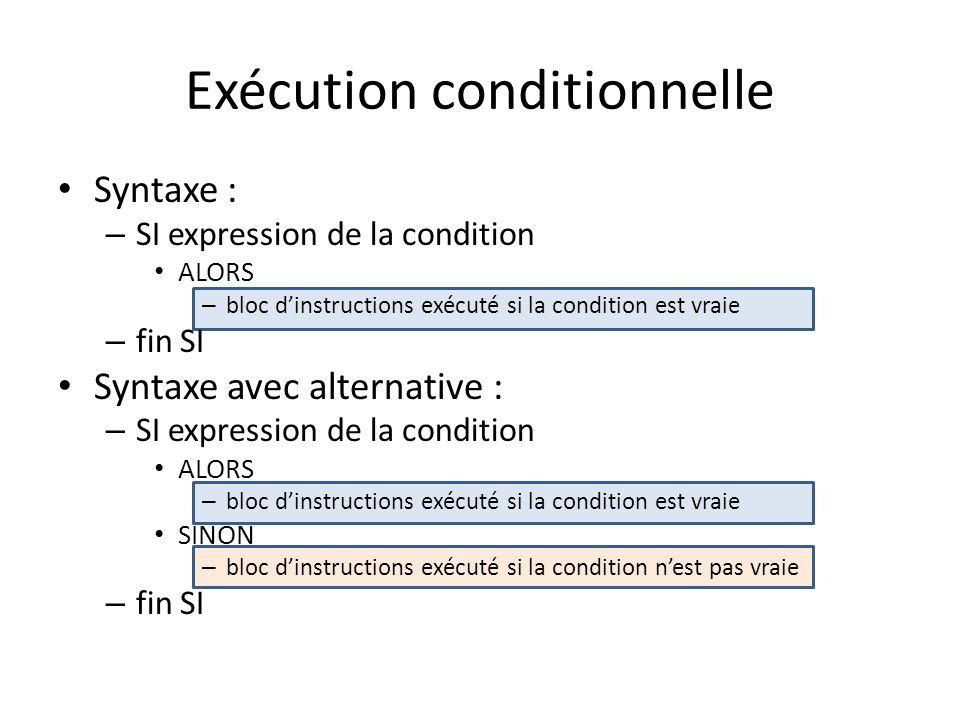 Exécution conditionnelle Syntaxe : – SI expression de la condition ALORS – bloc dinstructions exécuté si la condition est vraie – fin SI Syntaxe avec