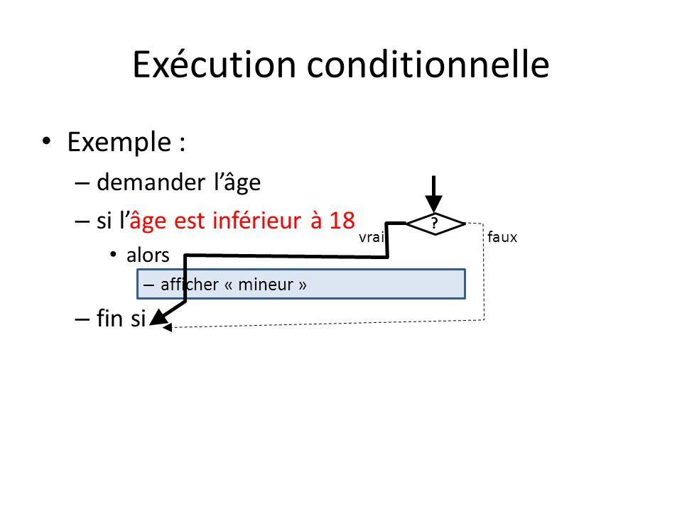 Exécution conditionnelle Exemple : – demander lâge – si lâge est inférieur à 18 alors – afficher « mineur » – fin si ? vraifaux