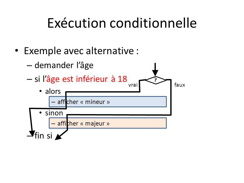 Exécution conditionnelle Exemple avec alternative : – demander lâge – si lâge est inférieur à 18 alors – afficher « mineur » sinon – afficher « majeur