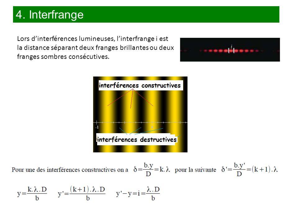 Lors dinterférences lumineuses, linterfrange i est la distance séparant deux franges brillantes ou deux franges sombres consécutives. 4. Interfrange